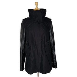 Danier Funnel Neck Jacket with Leather Sleeves